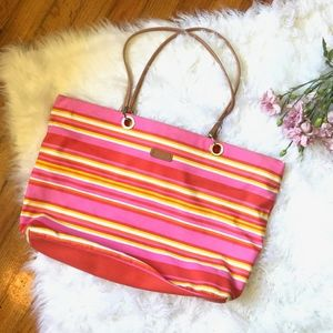 Vintage Xhilaration Pink Orange Stripe Beach Tote